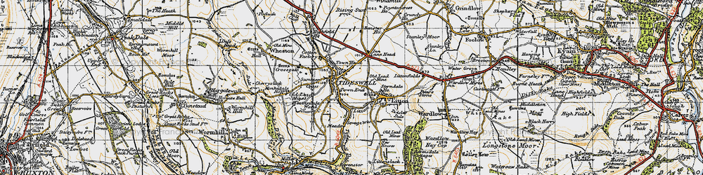 Old map of Tideswell in 1947