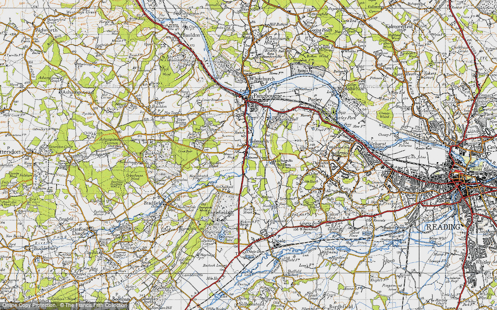 Old Map of Historic Map covering Tidmarsh Manor in 1947