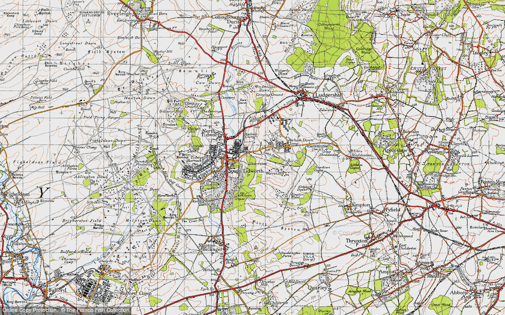 Old Map of Historic Map covering Ashdown Copse in 1940