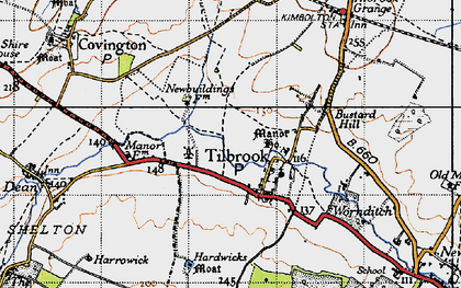 Old map of Tilbrook Bushes in 1946