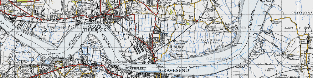 Old map of Tilbury in 1946