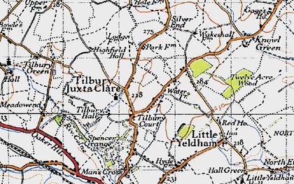 Old map of Tilbury Juxta Clare in 1946