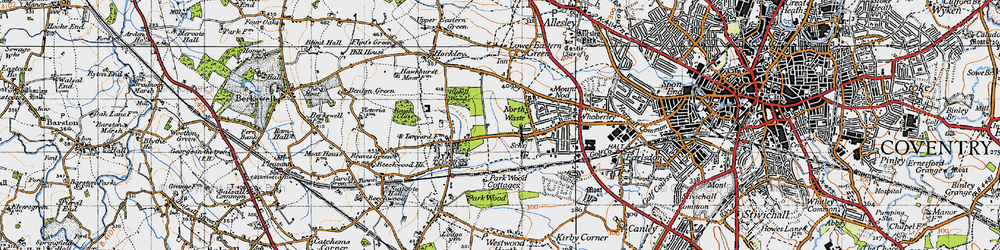 Old map of Tile Hill in 1947