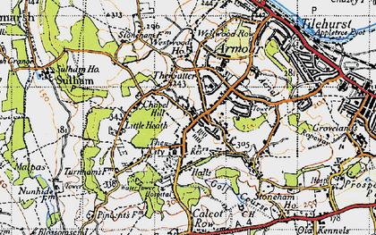 Old map of Tilehurst in 1945