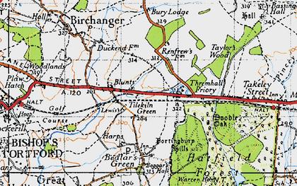 Old map of Tilekiln Green in 1946
