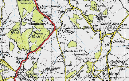 Old map of Tiley in 1945