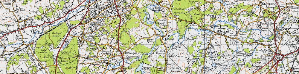 Old map of Tilford Reeds in 1940