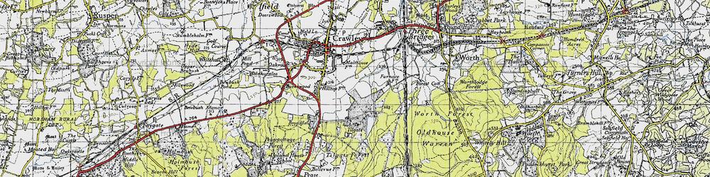 Old map of Tilgate in 1940
