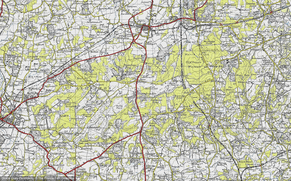 Old Map of Historic Map covering Tilgate Forest in 1940