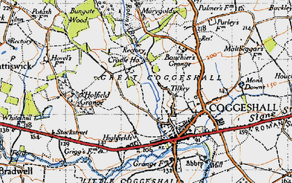 Old map of Tilkey in 1945