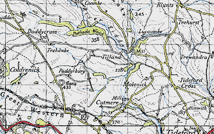 Old map of Tilland in 1946
