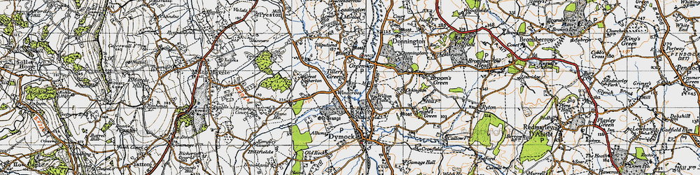 Old map of Tillers' Green in 1947