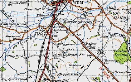 Old map of Tilley Green in 1947