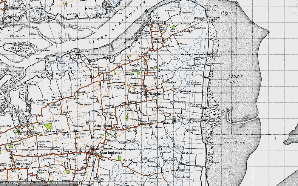 Old Map of Tillingham, 1945 in 1945