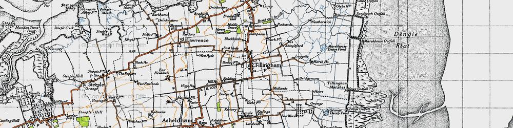Old map of Tillingham in 1945