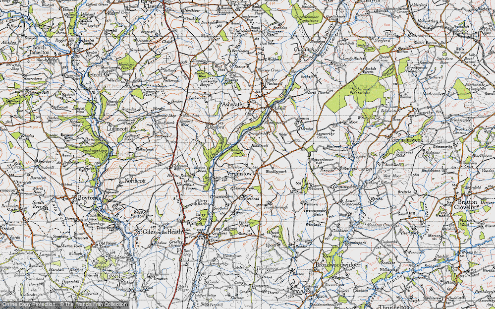 Old Map of Historic Map covering Ashwater Wood in 1946