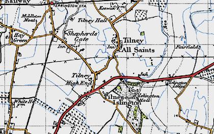 Old map of Tilney All Saints in 1946