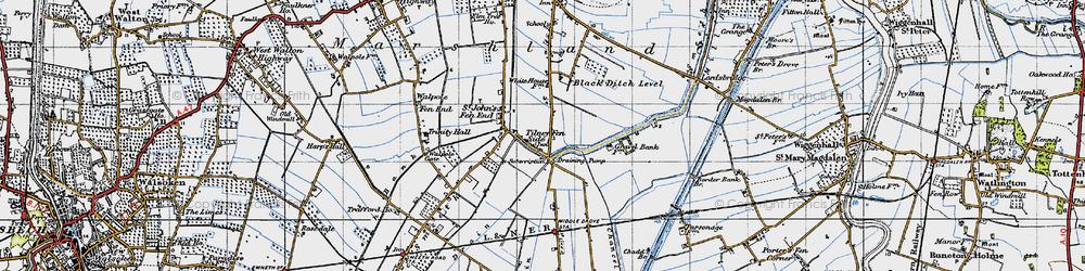 Old map of Tilney Fen End in 1946