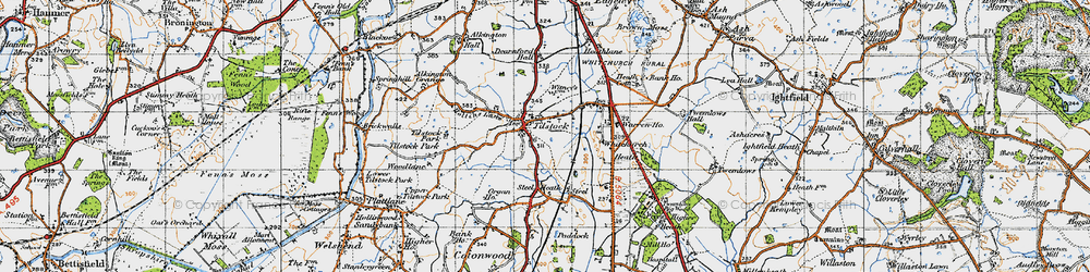 Old map of Tilstock in 1947