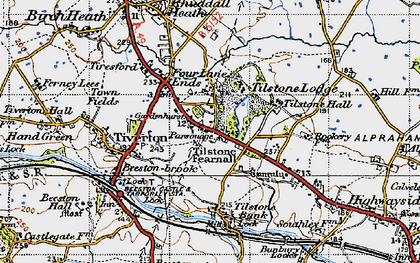 Old map of Wettenhall Brook in 1947