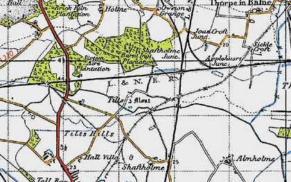 Old map of Tilts in 1947