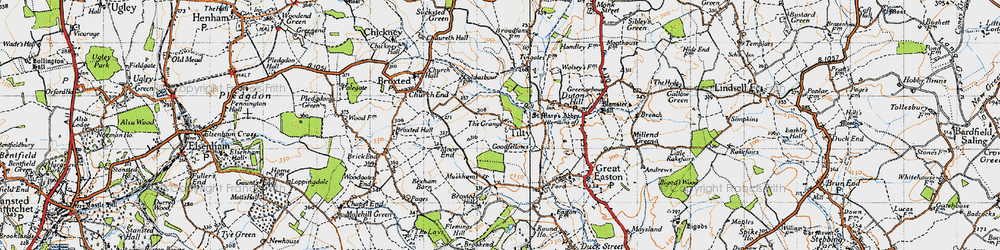 Old map of Tingates in 1946