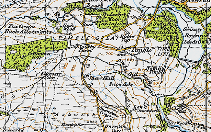 Old map of Timble Gill Beck in 1947