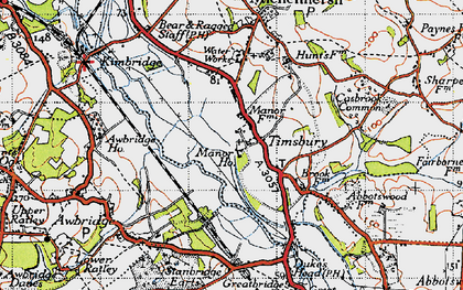 Old map of Timsbury Manor in 1945
