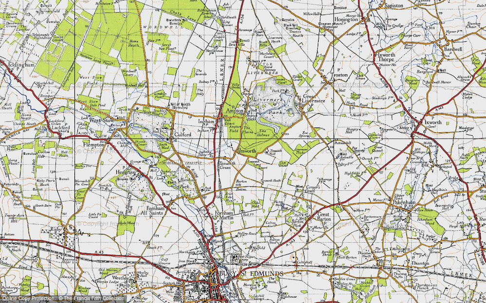 Old Map of Historic Map covering Timworth Hall in 1946