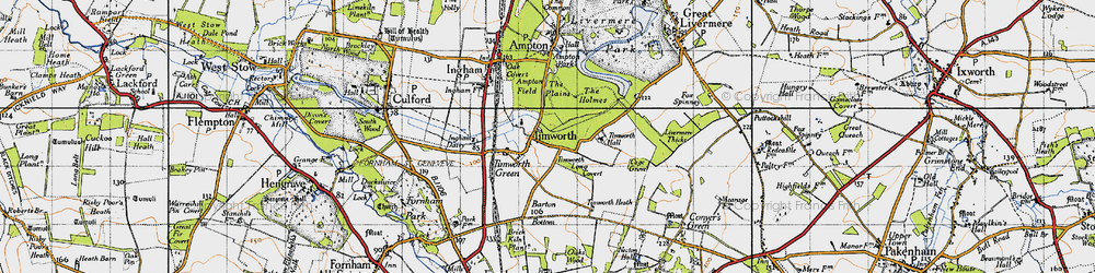 Old map of Timworth Hall in 1946