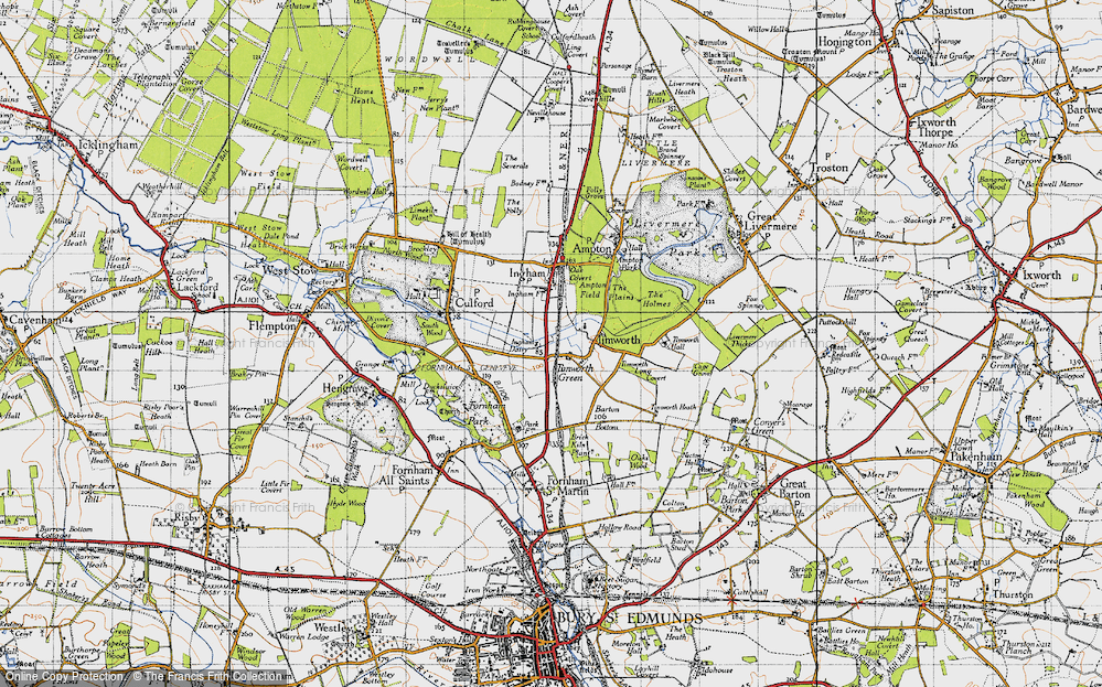 Old Map of Timworth Green, 1946 in 1946