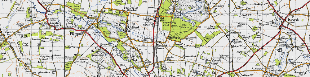 Old map of Timworth Green in 1946