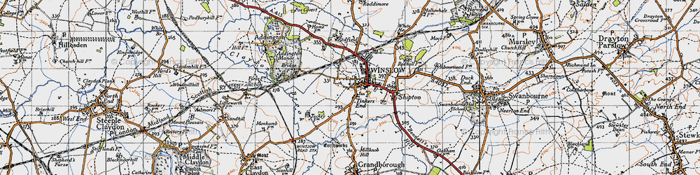 Old map of Tinkers End in 1946