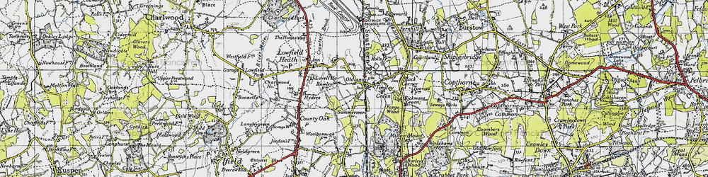 Old map of Tinsley Green in 1940