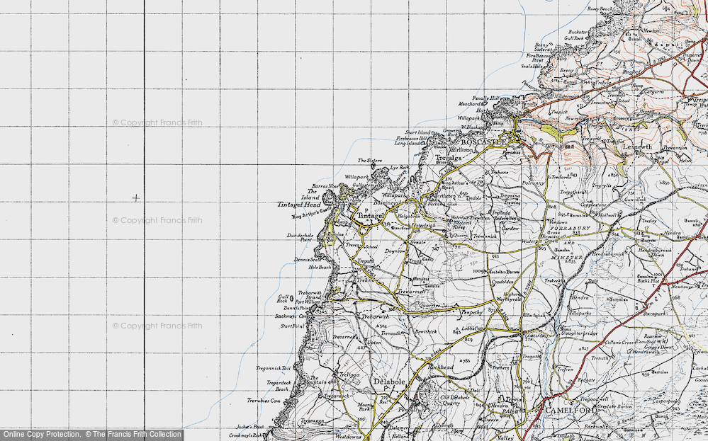 Old Map of Tintagel, 1946 in 1946
