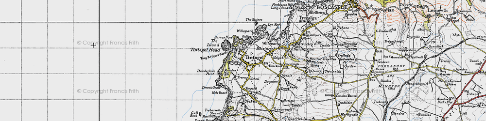 Old map of Tintagel Head in 1946
