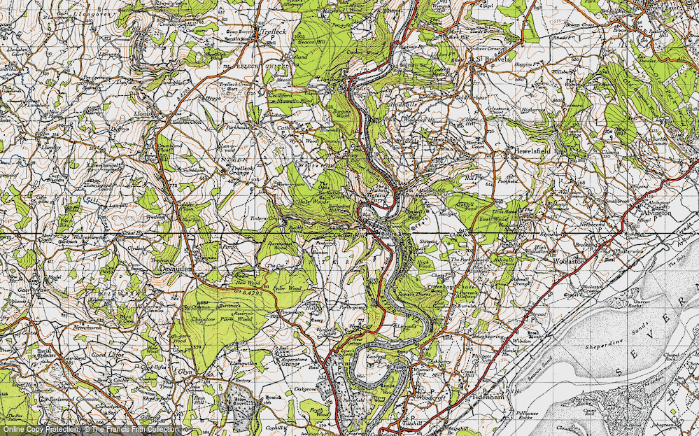 Old Map of Historic Map covering Barbadoes Hill in 1946