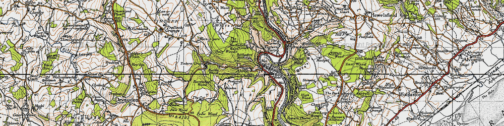 Old map of Tintern Abbey in 1946