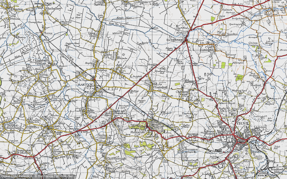 Old Map of Historic Map covering Tintinhull Ho in 1945