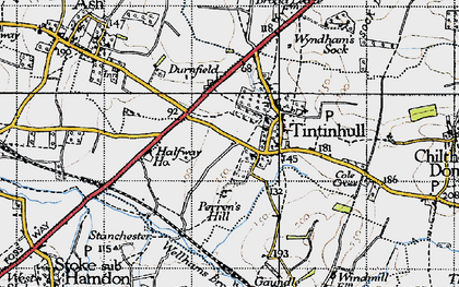 Old map of Tintinhull in 1945