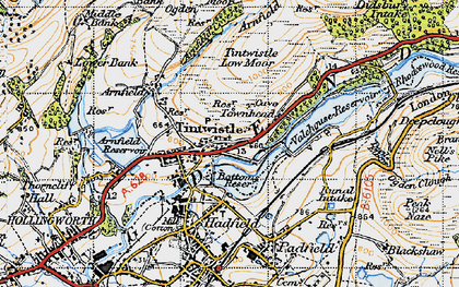 Old map of Tintwistle in 1947