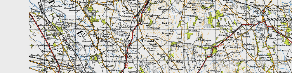 Old map of Tinwald Shaws in 1947