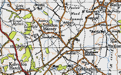 Old map of Tip's Cross in 1946