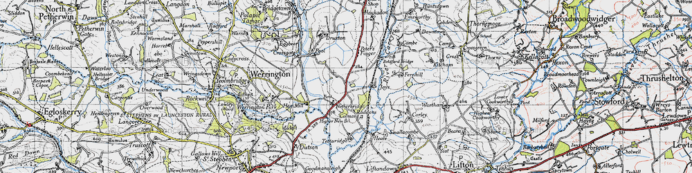 Old map of Tipple Cross in 1946