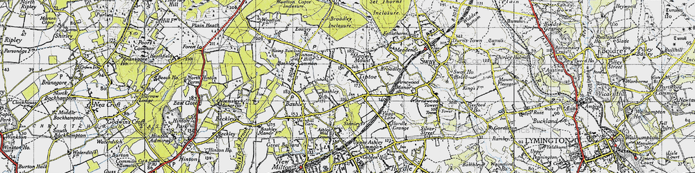 Old map of Tiptoe in 1940
