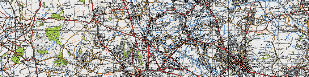 Old map of Tipton in 1946