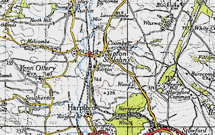 Old map of Tipton St John in 1946