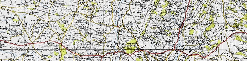 Old map of Tipton St John in 1946