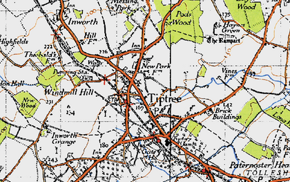 Old map of Tiptree in 1945