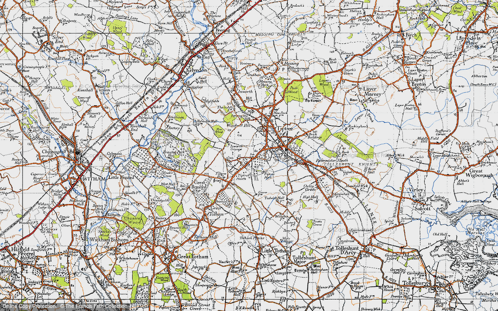 Old Map of Tiptree Heath, 1945 in 1945